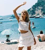 top,white top,skirt,white skirt