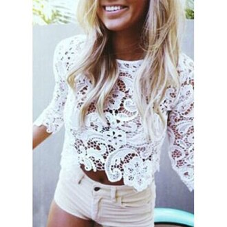 top crochet white fashion summer style clothes trendy girly beach stylish rose wholesale-jan