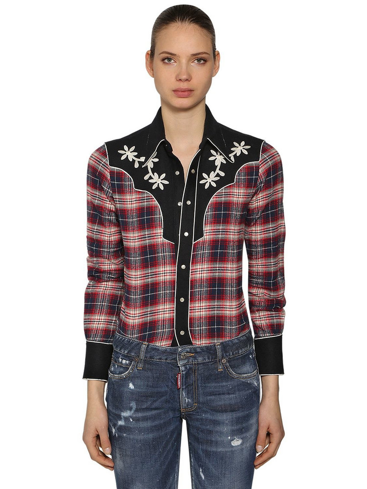 DSQUARED2 Rodeo Cotton Plaid Shirt in blue / red / white