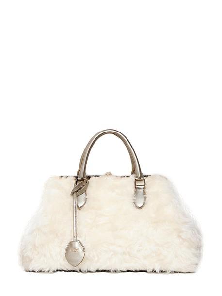 Rochas fur mohair bag silver white