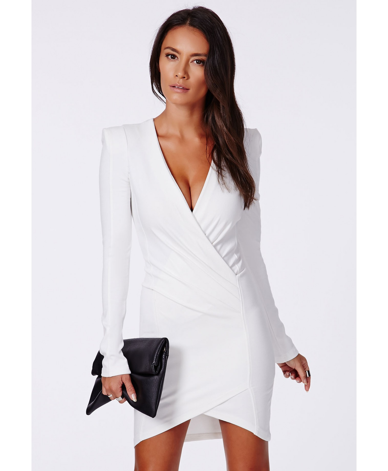 Missguided - Amaline Cross Over Tailored Dress In White