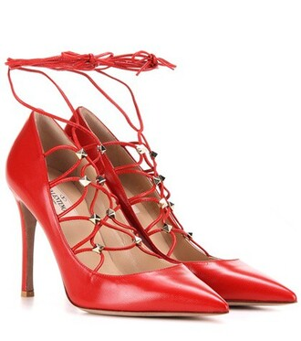 pumps lace leather red shoes