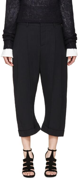 cropped kawaii navy pants