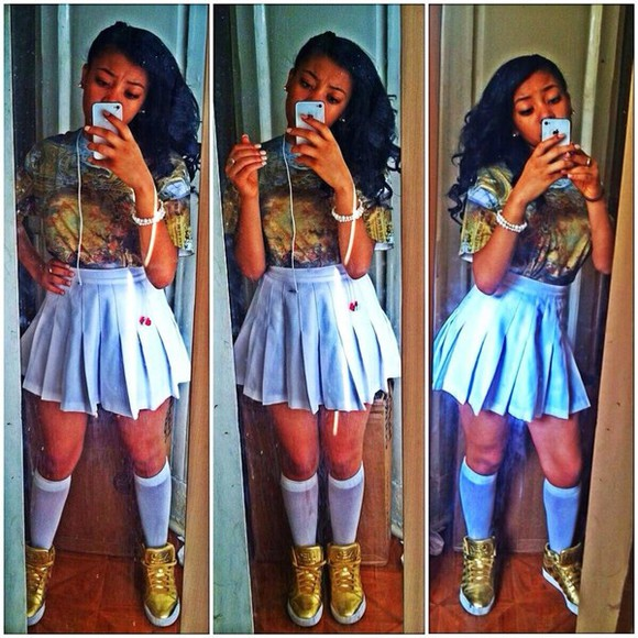 cleopatra t-shirt dope dope as f*** too dope base god instagram pretty cute white sneakers gold gold shoes skirt shoes jelly scandals scandalous crazy tv tv show