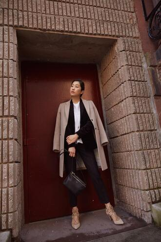 the chriselle factor blogger jacket scarf blouse jeans shoes sunglasses suit blazer spring outfits pumps