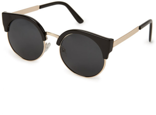 Vintage Black Cat-Eye Wire Frame Sunglasses