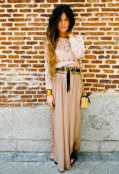 shirt,skirt,belt,maxi skirt,long sleeves,lace,crochet,gold,satin