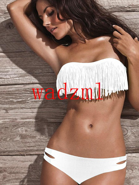 Ladies Fringe Frill Bandeau Bikini Sexy Women Bikini Swimwear Padded Boho Fringe Tassels Real Class Swimsuit-in Bikinis Set from Apparel & Accessories on Aliexpress.com