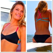 swimwear,bikini,coral,turquoise,straps,crossback,criss cross back,any color,must haves