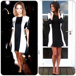 cd4e9643 Zara Black White Colorblock Dress with Ruffle Hem Fitted Sheath Shift S |  eBay
