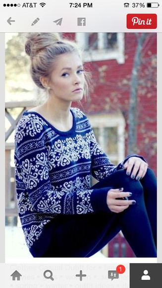 sweater heart royal blue