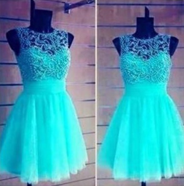 Dress: neon, blue, blue dress - Wheretoget
