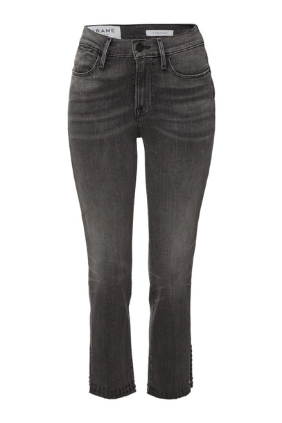Frame Denim Le High Straight Jeans with Raw Studded Trim  in grey
