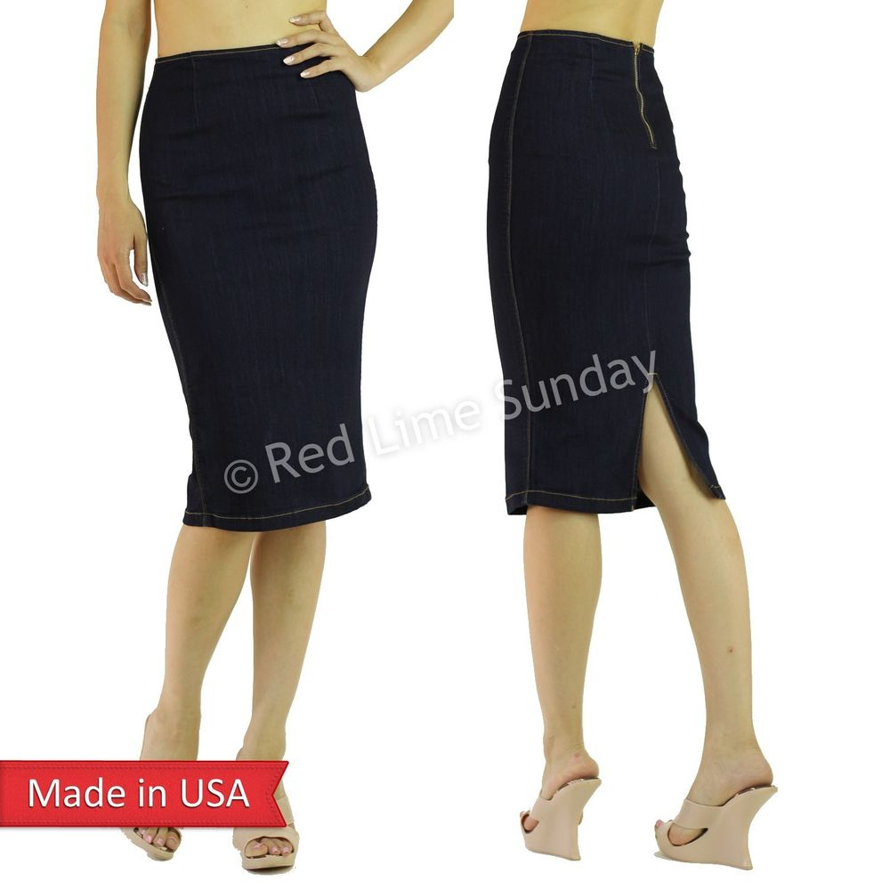 8c042f681226 New Sexy Women Indigo Denim Cotton Below Knee Pencil Skirt w/ Slit Zipper  USA