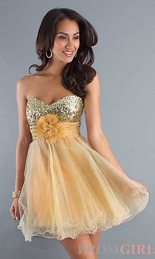 Strapless Baby Doll Dress, Homecoming Dresses-PromGirl