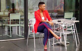 economyofstyle blogger jacket tank top pants bag shoes sunglasses blazer red jacket