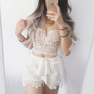 shorts white lace lace shorts white shorts summer style top