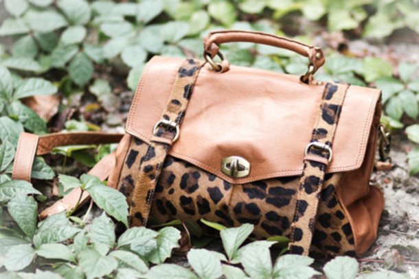 brown bag black bag leather satchel bag animal print bag animal print bag