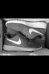 shoes,nike,grey roshe run,nike roshe run,roshes,nike free run,trainers,running,sportswear,athletic