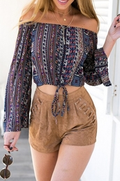 top,fashion,style,off the shoulder,pattern,long sleeves,summer,hot