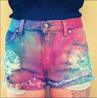 shorts galaxy summer cute galaxy shorts summer shorts ripped shorts cute shorts