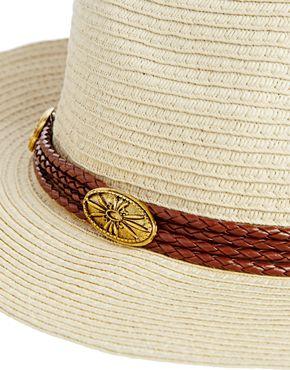 ASOS | ASOS Straw Fedora Hat With Western Trim at ASOS