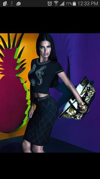 skirt versace versace skirt versace tank top adriana lima model victoria's secret
