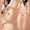 Lady's gorgeous warm hooded sheepskin sweatshirt sweatpants set