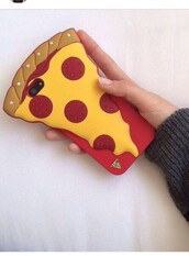 phone cover,pizza,yellow,red,food,iphone case,multicolor
