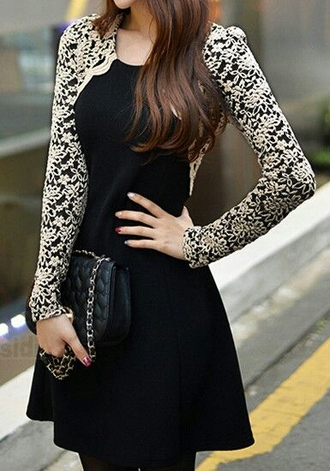 dress little black dress lace dress long sleeve dress black clothes women's clothes classy