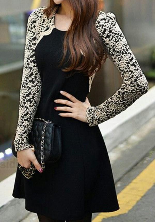 dress little black dress lace dress long sleeve dress long sleeve dress black clothes women's clothes classy bag