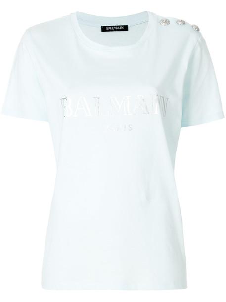Balmain t-shirt shirt t-shirt women embellished cotton blue top