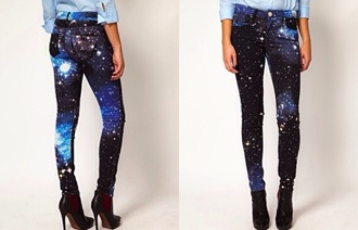 jeans galaxy print space pants blue black white stars skinny