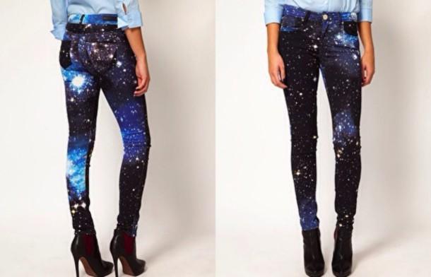 jeans galaxy print galaxy print space pants blue black white stars skinny