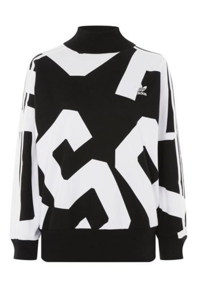Topshop sweatshirt adidas originals print black sweater