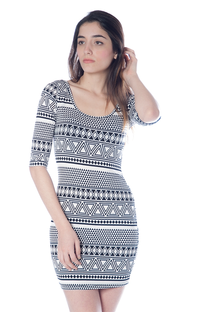 f79175bbe805 Aztec Pattern Bodycon Dress - Black   White from Casual   Day at ...