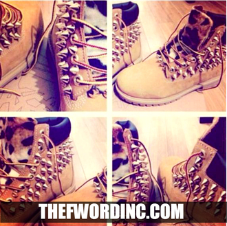 shoes leopard print timberlands gold spike tan