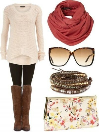 sweater clothes scarf shoes leggings fall outfits winter outfits boots sunglasses jewels bag knit knitted sweater cream oversized sweater black leggings knee high boots brown leather infinity scarf bracelets clutch cardigan white jumper tall boots style cute fall sweater white knitwear blouse brown boots knee high top creme sweater creme