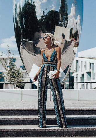 so sage blogger jumpsuit shoes spring outfits clutch ysl bag sequin jumpsuit