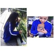 jacket,blue jacket windbreaker,nike,red nike logo