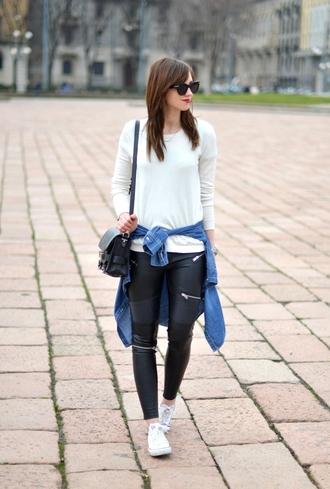 vogue haus blogger white sweater leather leggings sweater shirt leggings shoes bag jewels sunglasses
