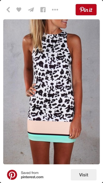 dress animal print summer dress black and white