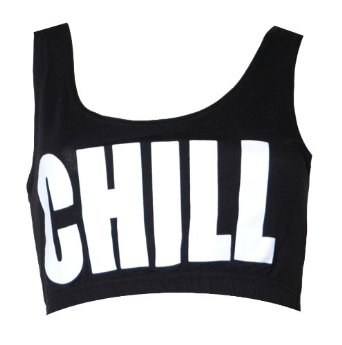 "Amazon.com: Womens Black ""Chill"" Bra Crop Top: Clothing"