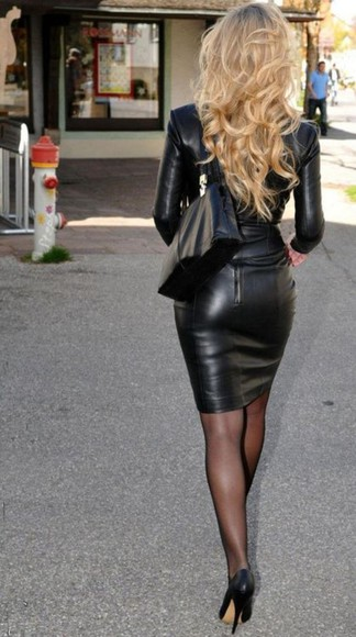 leather skirt leather jacket high heels pantyhose fashion classy and fabulous glamorous