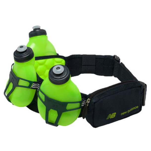New Balance Men's & Women's Helium H30 3 Bottle Hydration Belt - Green/Grey (H30-BL)