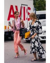 dress,floral dress,maxi dress,v neck dress,slide shoes,shirt,cropped pants,clutch,bag