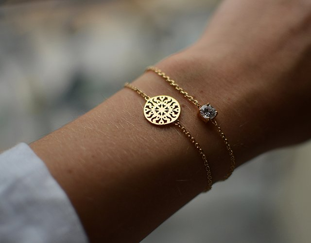 Fancy - Gold Filigree Sun Disc Bracelet