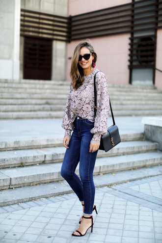blouse tumblr lace top see through lingerie see through top denim jeans blue jeans sandals sandal heels high heel sandals bag black bag sunglasses