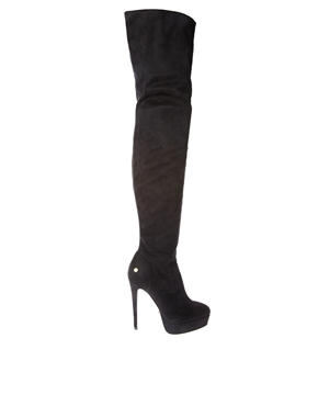 Blink | Blink Over The Knee Black Heeled Boots at ASOS