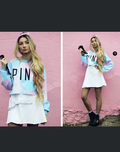 pink tie dye t-shirt crop tops sweatshirt oversized sweater circle skirt skater skirt vans, floral, indie, hippie, hipster, grunge, shoes, girly, tomboy, skater soft grunge crop-tops pink, blue, print, flowers, crop top, crop, tops, skirt